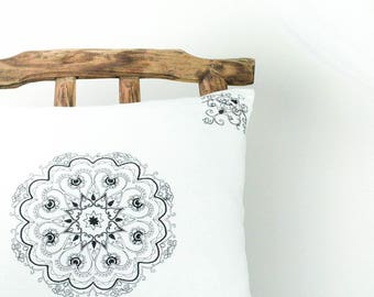 Mandala pillow, white boho pillow, black and white pillow, white linen pillow, bohemian pillow, white accent pillow, white decorative pillow