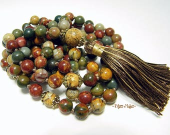 Knotted Mala Beads 108, Yoga Necklace, Prayer Beads, Picasso Jasper, Picture Jasper, Nurturing, Calm, Harmony, Deepen Meditation