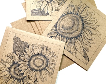 Sunflowers Mini Cards, Set of Four
