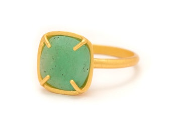 Chrysoprase in Yellow Gold Gemstone Ring - Gold Ring - Square Cushion Cut  - Gemstone Ring - Sizes 5, 6, 7, 8, 9, 10