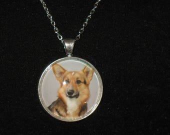 Cardigan Welsh Corgi Breed Glass Cabochon Silver Pendant Necklace 24 inch