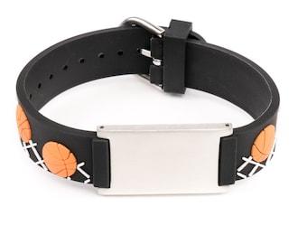 Basketball name ID bracelet, boys identification bracelet, alert bracelet, emergency bracelet