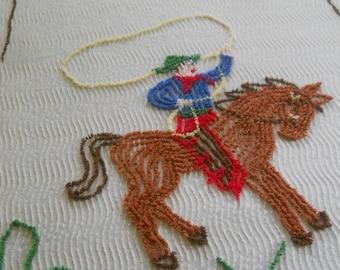 Vintage Cowboy Riding a Horse Chenille Bedspread-Horseshoe-Cactus-Cutter