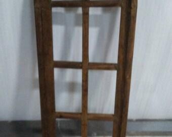 """3 - 12""""x37"""" Brown Wood Gothic Wooden Windows"""