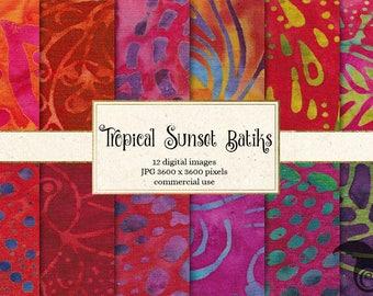 Tropical Sunset Batiks - 12 Pack Premium Digital Paper Hand Painted Safari Sarong Leaf Quilt Fabric Squares