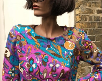 1960s psychedelic mod dolly dress  Pucci inspired print