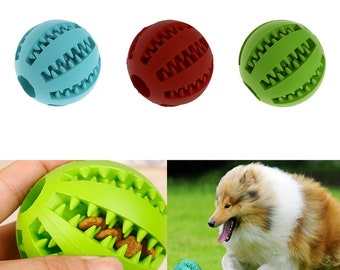 5cm Pet Dog Chew Toy Food Dispenser Ball Bite-Resistant Clean Teeth Natural Rubber