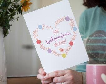 Personalised Floral Will You Be Our Ring Bearer Wedding Card, Birds and Flowers Pastel Coloured