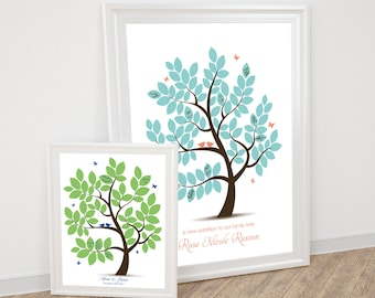 baby shower guest book alternative signature tree poster - printable - wedding tree, birds leaves baby boy, baby girl butterflies flutterby