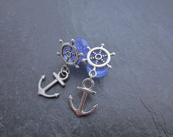8mm Handmade acrylic glitter earplugs with a ship wheel and anchor pendant
