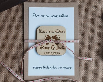 Mickey and Minnie Save the Date | Disney Save the Date| Rustic Save the Date | Save the Date Magnet | Wood Magnet | Custom Save the Date