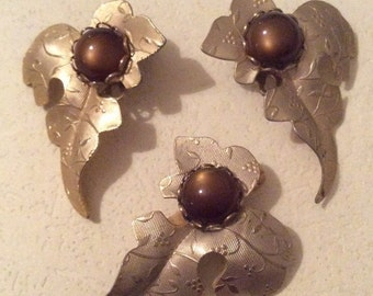 Moonglow Brown Cabochon Leaf with Earrings Vintage Jewelry Set SALE