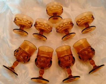 9 Amber King's Crown Thumbprint Pattern Retro Barware Set - 4 Wine Glasses with 5 Matching Dessert Cups - Sturdy - Excellent Condition
