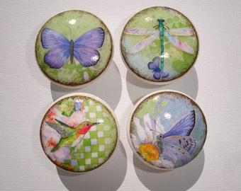 Set of 8 Vintage Butterfly Dragonfly Hummingbird Dresser Drawer Cabinet Knobs