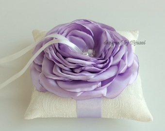Ivory Wedding pillow with Lilac Rose ---wedding rings pillow ,  rings cushion,wedding pillow, ready to ship