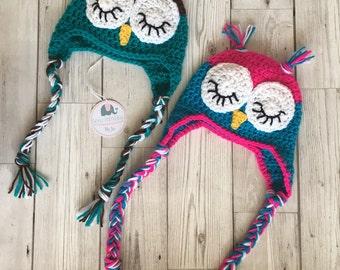 Owl crochet baby hat, perfect photo prop, new baby gift - made to order