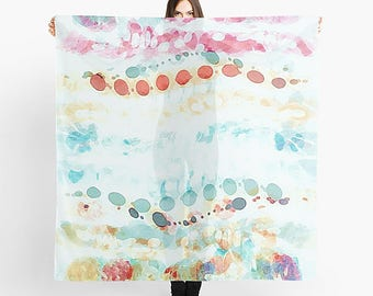 Watercolor Scarf, Women's Scarf, Sheer Scarf, Lightweight Scarf, Pastel Scarf, Chiffon Scarf, Square Scarf, Printed Scarf Abstract Art Scarf