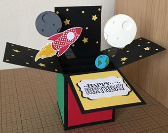 Handmade Card in a box, space themed birthday, pop up greeting card.