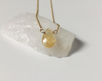 Pear shaped citrine pendant - November birthstone - birthday gifts for her - teardrop - dainty jewelry - minimalist necklace