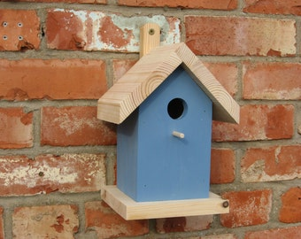 Bird Nest Box for blue tits, coal tits and marsh tits - conforms to RSPB specification - Blue