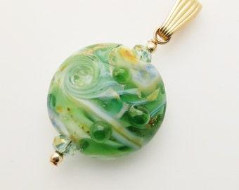 Green Lampwork Bead Gold Filled Pendant EE Designs