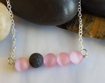 Lava bead bar necklace - pink and black jewelry - lava stone and glass bead essential oil diffuser jewelry - aromatherapy lava rock necklace