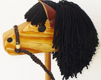 Black Stick Horse with Dark Brown Reigns - Hobby Horse
