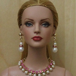 Rose & Pearls Jewelry Suite For Sydney Chase, Tyler Wentworth, Ellowyne Wilde And Other Same Size Dolls
