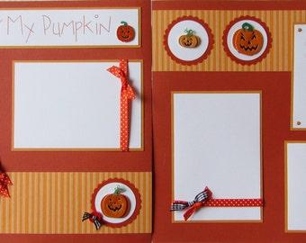 Premade 12x12 Scrapbook Pages -- CARVING MY PUMPKIN layout -- HaLLoWeeN - JaCK O LanTeRN - fall fun, boy, girl, family, picking pumpkins