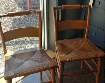 Set Of Four Maple Rush Seat Chairs
