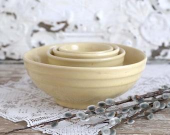 Vintage Oxford Yellow Mixing Bowls, Yellow Stoneware Ramekins, Yellow Stoneware Nesting Bowls, Ribbed Mixing Bowls, Farmhouse Kitchen Bowls
