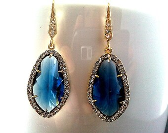 Blue Bridal Earrings Navy Blue Earrings Wedding Jewelry SAPPHIRE Earrings,  Bridesmaid Gift,  Drop, Dangle, Navy Earrings, Statement GIFT