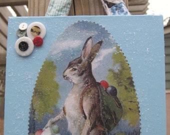 Handmade Vintage Easter Plaque