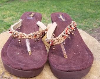 90s/Y2K Brown Beaded Wedge Sandals