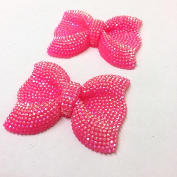 MajorCrafts® 3pcs 54mm Hot Pink AB Large Flat Back Chunky Resin Rhinestone Embellishment Bows C3