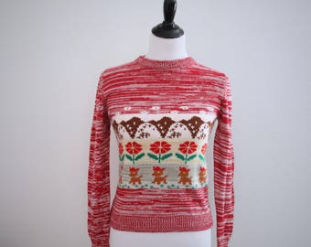 1970s Tacky Christmas Sweater Flowers Reindeer Red Crew Neck Chihuahua Womens Vintage Small