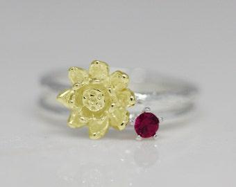 July birth flower and stone ring set, birth flower ring, birth stone ring, stacking ring, statement ring, birthday gift, ruby, lotus, women