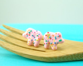 Food Jewelry // Frosted Animal Cookie Earrings // MADE TO ORDER // Post Earrings