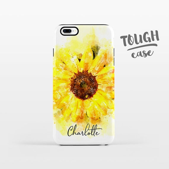 Watercolor Sunflower NAME Personalized iPhone Case Custom iPhone X Case iPhone 8 Case iPhone 7 Plus Case iPhone 6 Plus iPhone 6S Floral