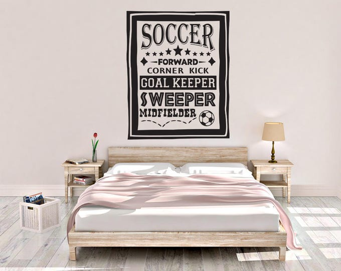 Soccer Poster - Soccer Wall Decal - Sports Poster Decal - Wall Decal - Soccer - Wall Decor - Sports Decor - Sports Decal