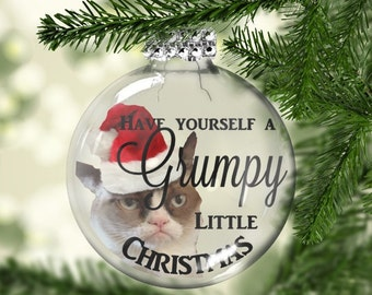Grumpy Cat Christmas Ornament - Funny Christmas Ornament - Cat Lover Gift - Funny Cat Gifts - Cat Lover - Geekery - Funny Christmas Gift