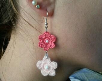 Dangling earrings, romantic, floral