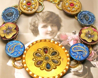 """1800s Antique BUTTON bracelet. Victorian buttons in gold, blue & red. 7.75"""" jewellery. Present, gift."""