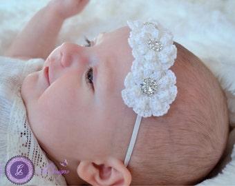 White BAPTISM HEADBAND,infant headband, christening headband, feather headband, elegant headband, fancy headband, White lace Headband