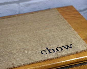 Reversible Handmade Burlap Placemats (6) Choose Your Words, Place Mats, Hand Painted Lettered Table Mats