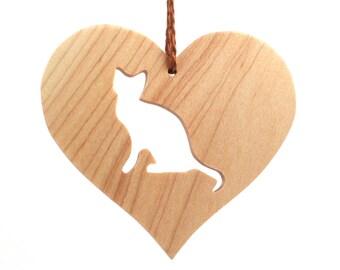 Wood Cat Ornament, Wooden Heart Shaped Pet Ornament, Christmas Cat Decoration, Pet Loss Memorial, Maple