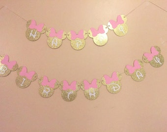 Minnie Mouse Happy Birthday Banner, minnie mouse banner, pink and gold minnie mouse banner, minnie mouse birthday
