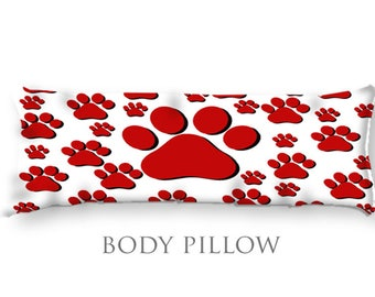 Tiger Paw Body Pillow-School Mascot Bed Pillow-Cheerleader Decor-Paw Print Body Pillow Cover-Large Pillow Cover-Teen Room Decor