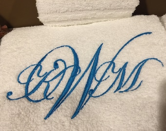 Monogram 3 Letter Towel Set of 2