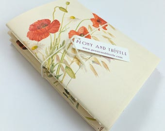 Summer notebooks, travel journals, Set of 3 botanical notebooks, floral notebooks, The Country Diary of an Edwardian Lady